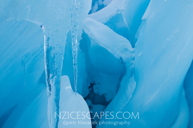 A detail of the blue ice and icicles on the Franz Josef Glacier - Westland National Park
