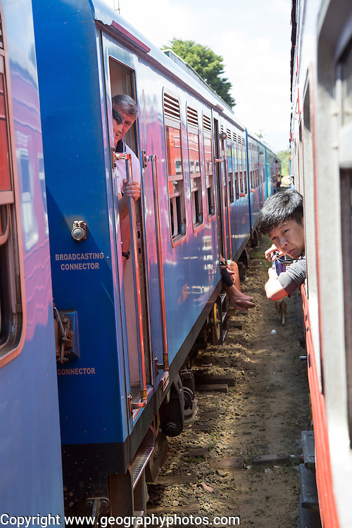 People on trains Pittipola, Sri Lanka, Asia