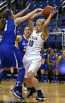 Nevada's Stephanie Schmid competes against Air Force defender Cortney Porter during a women's basketball game in Reno, Nev., on Saturday, Jan. 9, 2016. Nevada won 68-57.<br /> Photo by Cathleen Allison