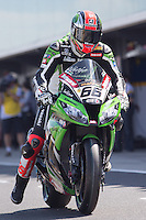 Tom Sykes (GBR) riding the Kawasaki ZX-10R (66) of the Kawasaki Racing Team leaving the pits for a practise session on day one of round one of the 2013 FIM World Superbike Championship at Phillip Island, Australia.
