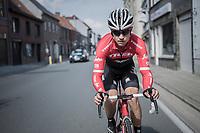 Kiel Reijnen (USA/Trek-Segafredo) on his way back to the peloton<br /> <br /> 72nd Dwars Door Vlaanderen (1.UWT)<br /> 1day race: Roeselare &rsaquo; Waregem BEL (203.4km)