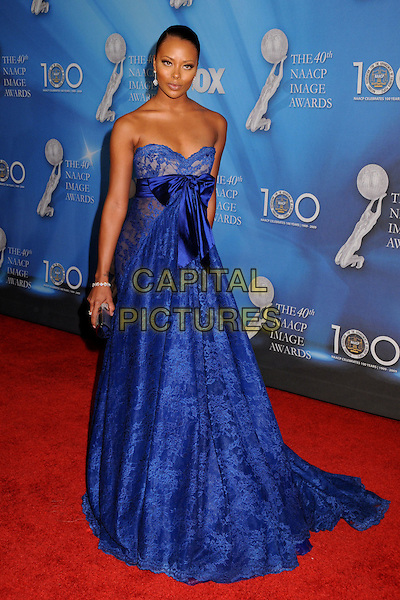 EVA MARCILLE PIGFORD.40th Annual NAACP Image Awards - Arrivals at the Shrine Auditorium, Los Angeles, California, USA..February 12th, 2009.full length blue lace strapless dress sash waist gown .CAP/ADM/BP.©Byron Purvis/AdMedia/Capital Pictures.