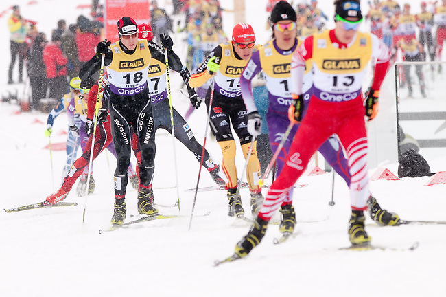 HOLMENKOLLEN, OSLO, NORWAY - March 15: Athletes during the cross country 10 km (4 x 2.5 km) competition at the FIS Nordic Combined World Cup on March 15, 2013 in Oslo, Norway. (Photo by Dirk Markgraf)