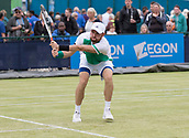 June 13th 2017, Nottingham, England; ATP Aegon Nottingham Open Tennis Tournament day 4;  Bjorn Fratangelo of USA on his way to victory in round one against Darian King of Barbados