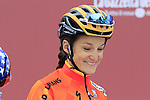 Defending Champion Elizabeth Deignan (ENG) Boels-Dolmans Cycling Team at sign on before the start of the Ladies 2017 Strade Bianche running 127km from Siena to Siena, Tuscany, Italy 4th March 2017.<br /> Picture: Eoin Clarke | Newsfile<br /> <br /> <br /> All photos usage must carry mandatory copyright credit (&copy; Newsfile | Eoin Clarke)