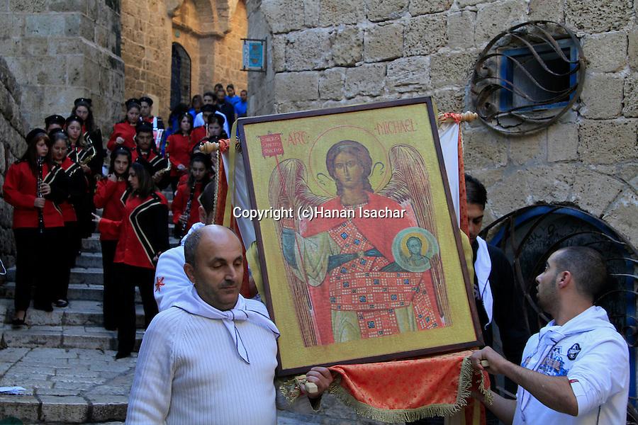 Israel, Jaffa, an icon of St. Michael's at the Greek Orthodox St. Michael's Church
