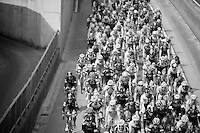 peloton under a bridge<br /> <br /> 57th E3 Harelbeke 2014