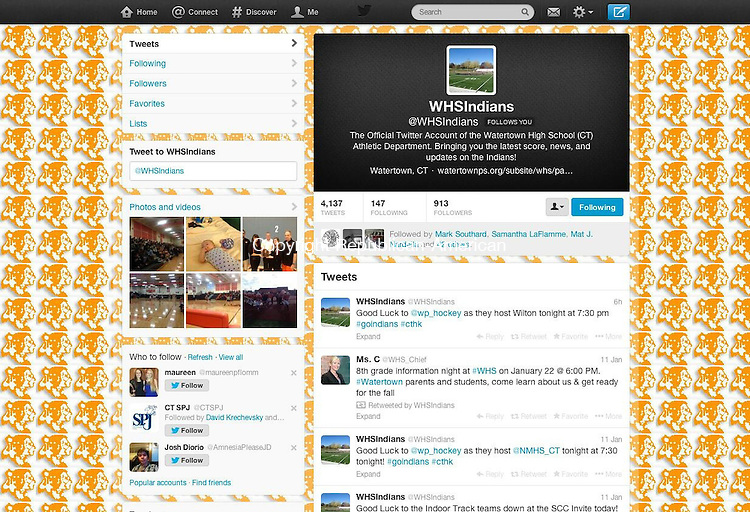 WATERTOWN, CT 13 January 2014-011314LW02 - The Watertown High School athletics department posts sports scores, news and updates on its Twitter account, which had 913 followers Monday. The Board of Education is considering a new social media policy for district staff. Twitter.
