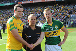 Fionn Fitzgerald captain shakes hands at the start in the 2014 All-Ireland Football Final in 2014.<br /> Photo: Don MacMonagle<br /> <br /> Photo: Don MacMonagle <br /> e: info@macmonagle.com