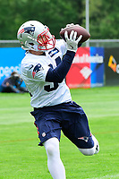 June 7, 2017: New England Patriots running back Rex Burkhead (34) catches a pass at the New England Patriots mini camp held on the practice field at Gillette Stadium, in Foxborough, Massachusetts. Eric Canha/CSM