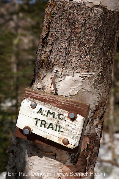 Franconia Notch State Park - A.M.C Trail sign along the Falling Waters Trail in the White Mountains, New Hampshire USA