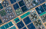 """Pictured: Air is pumped into water by a machine at a shrimp farm in An Hai commune, Tuy An district, Phu Yen province of Vietnam.<br /> <br /> The shimps plantation farm, as viewed from above, uses machines which blow oxygen into  the water for the shimp.<br /> <br /> Pham Huy Trung, 40,  an engineer in Ho Chi Minh city of Vietnam said, """"Each square pond contain four machines pumping air into the water. The farmer will harvest the shrimp after around three to four months and would get between £5 to £8 per kilogram.""""<br /> <br /> Please byline: Pham Huy Trung/Solent News<br /> <br /> © Pham Huy Trung/Solent News & Photo Agency<br /> UK +44 (0) 2380 458800"""
