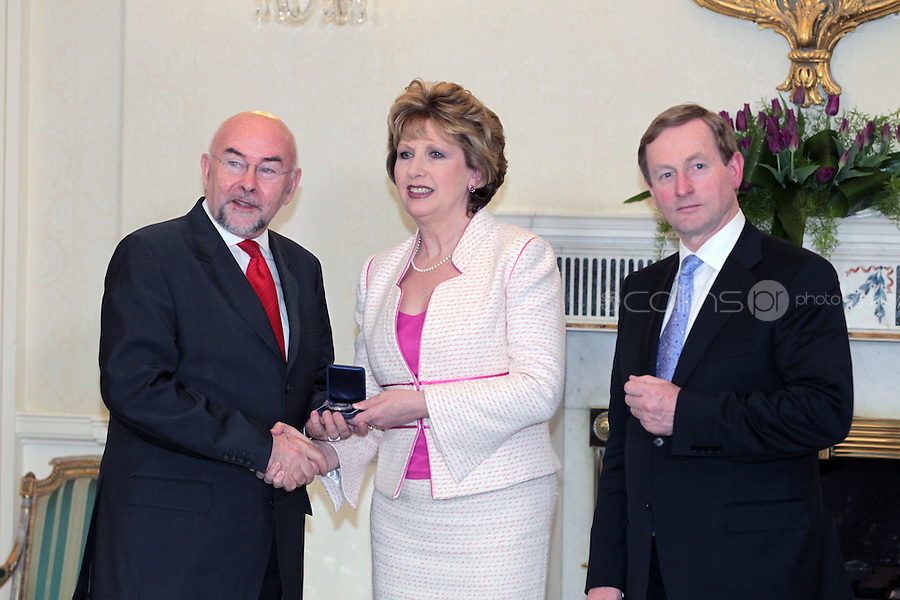 9/3/11 Ruairi Quinn, Minister for Education and Skills, with President Mary McAleese and Taoiseach Enda Kenny at Aras An Uachtarain for the appoinment of the Government. Pictures:Arthur Carron/Collins