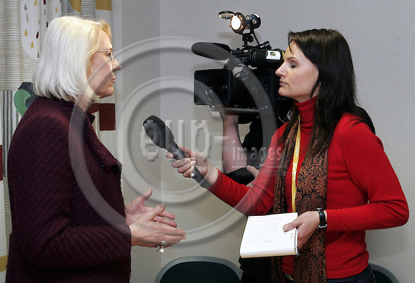 BRUSSELS - BELGIUM - 20 MARCH 2006 -- The General Affairs EU-Council meeting with Foreign Ministers. -- Laila FREIVALDS the Swedish Minister of Foreign Affairs during a TV interview after her press conference, on which the main topic was the closure of a website related to the Muhammad caricatures by the Government of Sweden. -- PHOTO: JUHA ROININEN / EUP-IMAGES
