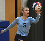 Jerseyville's Clare Breden tosses the ball up to serve. Jerseyville played at Alton Marquette in a girls volleyball game on Wednesday September 11, 2018.<br /> Tim Vizer/Special to STLhighschoolsports.com