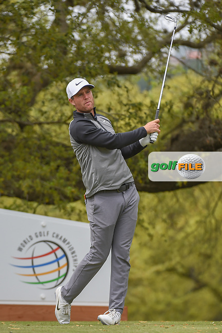 Lucas Bjerregaard (DEN) watches his tee shot on 10 during day 4 of the WGC Dell Match Play, at the Austin Country Club, Austin, Texas, USA. 3/30/2019.<br /> Picture: Golffile   Ken Murray<br /> <br /> <br /> All photo usage must carry mandatory copyright credit (© Golffile   Ken Murray)