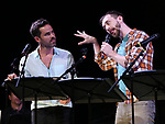 """Nicholas Belton and Alex Gibson during the New York Musical Festival production of  """"Alive! The Zombie Musical"""" at the Alice Griffin Jewel Box Theatre on July 29, 2019 in New York City."""