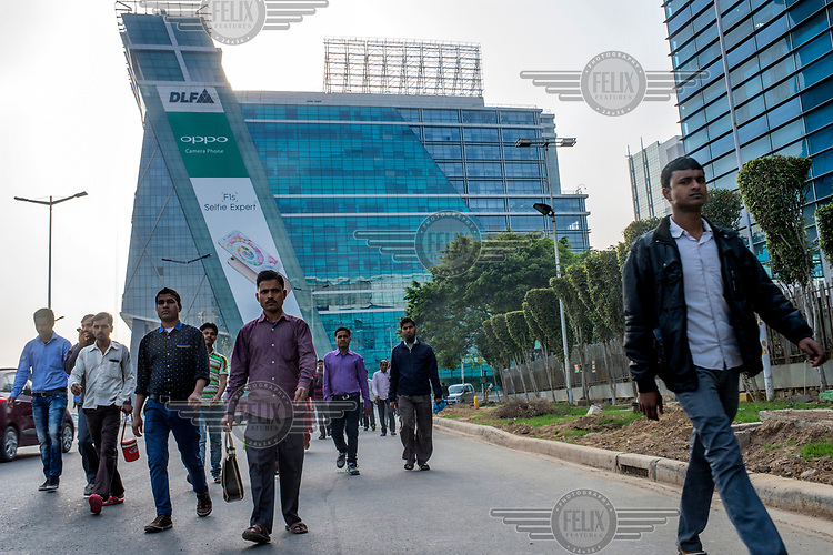 People head to work at offices in Cybercity in Gurgoan.