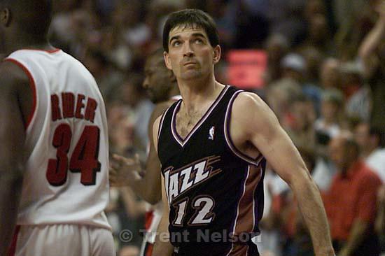 John Stockton in the finals seconds at Jazz vs. Portland Blazers, game four, 2nd round, NBA Playoffs. Blazers won.<br />