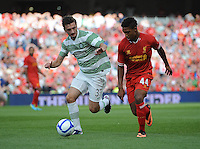 10th August 2013; Jordan Ibe, Liverpool, in action against, Bahrudin Atajic, Glasgow Celtic. Pre-season Friendly, Liverpool v Celtic, Dublin Decider, Aviva Stadium, Dublin. Picture credit: Tommy Grealy/actionshots.ie.