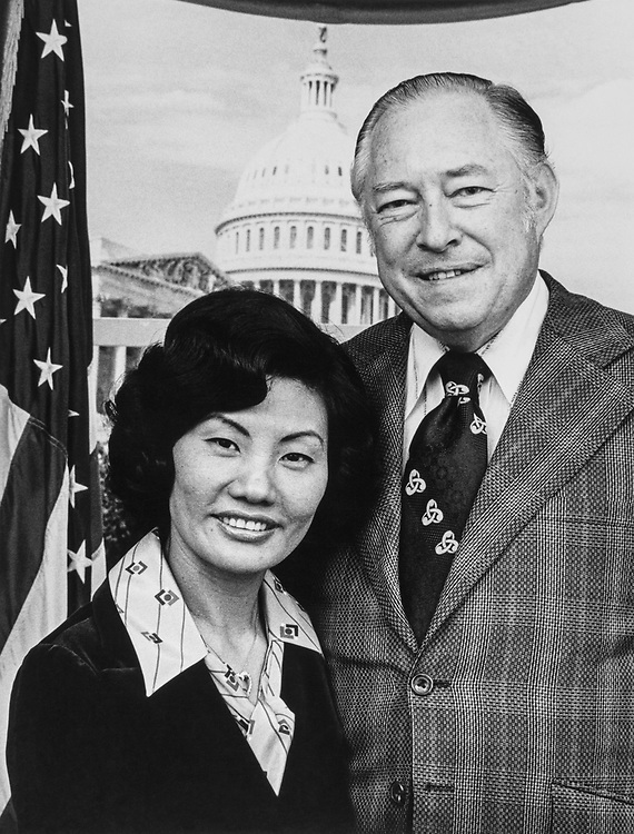Portrait of Rep. Charles H. Wilson, D-Calif., with wife Hyung Bock Chaug. (Photo by Dev O'Neill/CQ Roll Call)