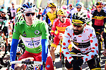 Green Jersey holder Arnaud Demare (FRA) Groupama-FDJ and Jerome Cousin (FRA) Direct Energie in the Polka Dot Jersey line up before the start of Stage 6 running 198km from Sisteron to Vence, France. 9th March 2018.<br /> Picture: ASO/Alex Broadway | Cyclefile<br /> <br /> <br /> All photos usage must carry mandatory copyright credit (&copy; Cyclefile | ASO/Alex Broadway)