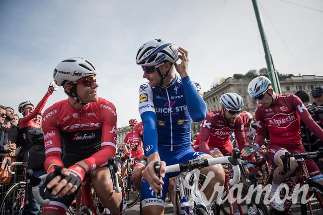 Jasper Stuyven (BEL/Trek-Segafredo) & Tom Boonen (BEL/Quick-Step Floors) chatting at the start<br /> <br /> race start in Milano for the 108th Milano - Sanremo 2017