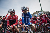 Jasper Stuyven (BEL/Trek-Segafredo) & Tom Boonen (BEL/Quick-Step Floors) chatting at the start<br /> <br /> race start in Milano for the 108th Milano - Sanremo 2017