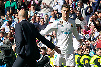 Real Madrid's coach Zinedine Zidane (l) with Cristiano Ronaldo during La Liga match. April 8,2018. (ALTERPHOTOS/Acero) /NortePhoto NORTEPHOTOMEXICO