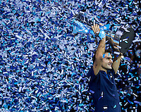 Roger Federer (SUI) against Jo-Wilfred Tsonga (FRA) in the Finals of the Barclays ATP World Tour Finals. Roger Federer beat Jo-Wilfred Tsonga 6-3 6-7 6-3..@AMN IMAGES, Frey, Advantage Media Network, Level 1, Barry House, 20-22 Worple Road, London, SW19 4DH.Tel - +44 208 947 0100.email - mfrey@advantagemedianet.com.www.amnimages.photoshelter.com.
