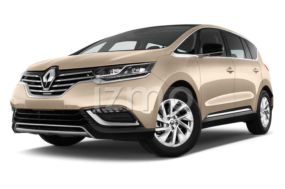 Stock pictures of low aggressive front three quarter view of 2015 Renault Espace Intens 5 Door Minivan Low Aggressive
