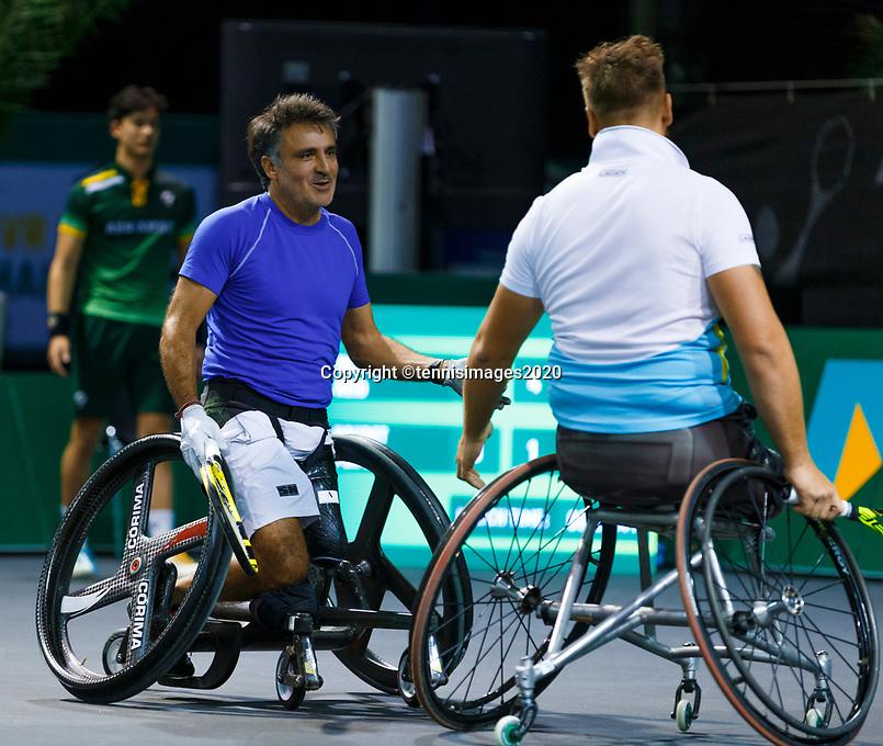 Rotterdam, The Netherlands, 14 Februari 2020, ABNAMRO World Tennis Tournament, Ahoy, <br /> Wheelchair Doubles: Stephane Houdet (FRA) and Nicolas Peifer (FRA).<br /> Photo: www.tennisimages.com