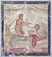 A Roman erotic fresco painting from Pompeii form a private house venereum, a room for sexual activities, 50-79 AD , , inv no 27696 , Secret Museum or Secret Cabinet, Naples National Archaeological Museum