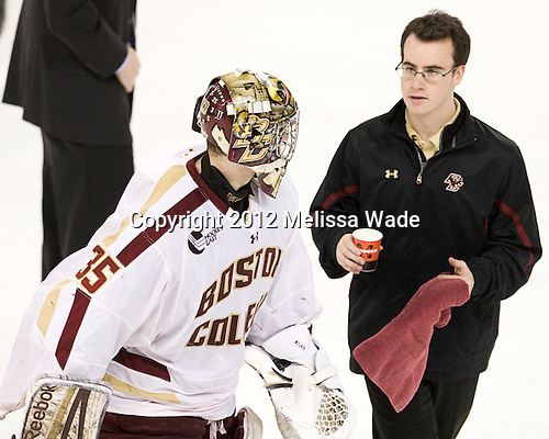 Parker Milner (BC - 35), Tom Maguire (BC - Manager) - The Boston College Eagles defeated the Providence College Friars 7-0 on Saturday, February 25, 2012, at Kelley Rink at Conte Forum in Chestnut Hill, Massachusetts.