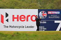 Ricardo Gouveia (POR) on the 7th tee during Round 1 of the Betfred British Masters 2019 at Hillside Golf Club, Southport, Lancashire, England. 09/05/19<br /> <br /> Picture: Thos Caffrey / Golffile<br /> <br /> All photos usage must carry mandatory copyright credit (© Golffile | Thos Caffrey)