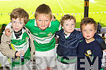 Owen Benson, Darragh Kelly, Sam Benson,  Daniel Murphy (Killarney). Kerry supporters at the Kerry Senior Football Team Media day at Fitzgerald Stadium on Saturday.