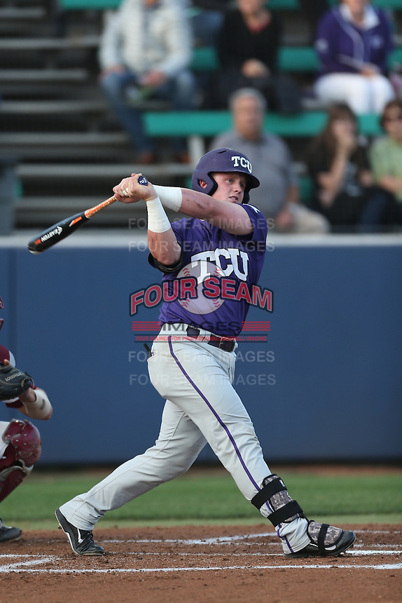 Evan Skoug (9) of the TCU Horned Frogs bats during a game against the Loyola Marymount Lions at Page Stadium on March 16, 2015 in Los Angeles, California. TCU defeated Loyola, 6-2. (Larry Goren/Four Seam Images)