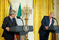 United States President Donald J. Trump, right, and Prime Minister Paolo Gentiloni of Italy, left, conduct a joint press conference in the East Room of the White House in Washington, DC on Thursday, April 20, 2017.<br /> Credit: Ron Sachs / CNP /MediaPunch