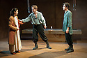 "Bath, UK. 06/10/2011. ""Iphigenia"" opens at the Ustinov Studio, Theatre Royal Bath. L to R: Laura Ress (as Iphigigenia), Adam Jackson-Smith (as Pylades), and Tom Mothersdale (as Orestes). Photo credit: Jane Hobson"