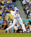 22 July 2011: Los Angeles Dodgers infielder Jamey Carroll in action against the Washington Nationals at Dodger Stadium in Los Angeles, California. The Nationals defeated the Dodgers 7-2 in their first meeting of the 2011 season. Mandatory Credit: Ed Wolfstein Photo