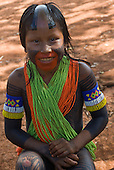 Pará State, Brazil. Aldeia A-Ukre (Kayapó). Child with traditional body and hair decoration.