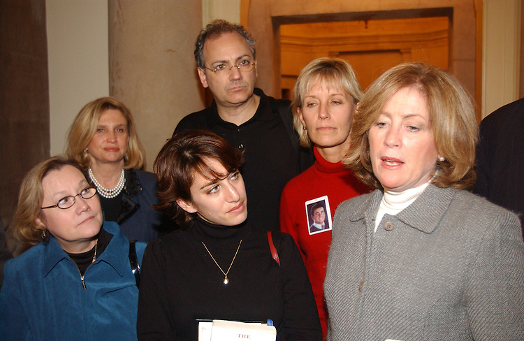 12/06/04.INTELLIGENCE REFORM BILL--Carol Ashley, Carolyn B. Maloney, D-N.Y., Carie Lemack , Charlie Wolf, Beverly Eckert and Mary Fetchet talk to media after they exited the offices of House Speaker J. Dennis Hastert, R-Ill., to deliver a petition urging him to schedule a vote on the intelligence reform bill before the imminent end of the 108th Congress. CONGRESSIONAL QUARTERLY PHOTO BY SCOTT J. FERRELL