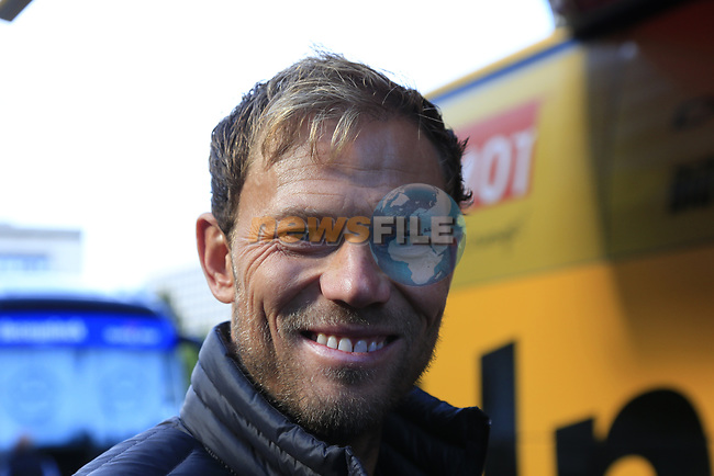 Former World Champion Thor Hushovd (NOR) at sign on for the start of the Women Elite Road Race of the UCI World Championships 2019 running 149.4km from Bradford to Harrogate, England. 28th September 2019.<br /> Picture: Eoin Clarke | Cyclefile<br /> <br /> All photos usage must carry mandatory copyright credit (© Cyclefile | Eoin Clarke)