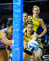 Maia Wilson and Karin Burger chase the ball during the ANZ Premiership netball match between the Central Pulse and Northern Stars at TSB Bank Arena in Wellington, New Zealand on Monday, 8 May 2017. Photo: Dave Lintott / lintottphoto.co.nz
