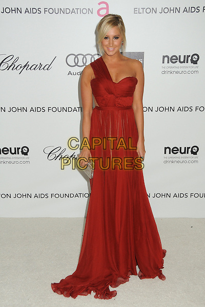 Ashley Tisdale.20th Annual Elton John Academy Awards Viewing Party held at West Hollywood Park, West Hollywood, California, USA..February 26th, 2012.oscars full length dress red one shoulder   silver clutch bag.CAP/ADM/BP.©Byron Purvis/AdMedia/Capital Pictures.