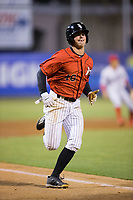 Mitch Roman (10) of the Kannapolis Intimidators scores a run against the Lakewood BlueClaws at Kannapolis Intimidators Stadium on April 8, 2017 in Kannapolis, North Carolina.  The BlueClaws defeated the Intimidators 8-4 in 10 innings.  (Brian Westerholt/Four Seam Images)