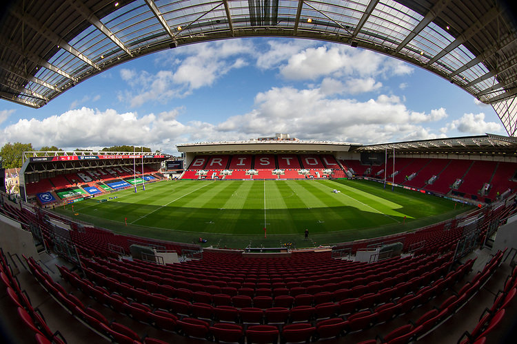 A general view of Ashton Gate, home of Bristol Bears<br /> <br /> Photographer Bob Bradford/CameraSport<br /> <br /> Premiership Rugby Cup Round Three - Bristol Bears v London Irish - Sunday 6th October 2019 - Ashton Gate - Bristol<br /> <br /> World Copyright © 2018 CameraSport. All rights reserved. 43 Linden Ave. Countesthorpe. Leicester. England. LE8 5PG - Tel: +44 (0) 116 277 4147 - admin@camerasport.com - www.camerasport.com