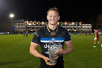 Chris Cook of Bath Rugby poses for a photo with his Man of the Match award. European Rugby Champions Cup match, between Bath Rugby and Benetton Rugby on October 14, 2017 at the Recreation Ground in Bath, England. Photo by: Patrick Khachfe / Onside Images