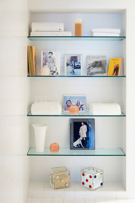 Contemporary glass shelves<br /> <br /> Bettina Werner, Pioneering Artist of the World's 1st Salt Crystal Artworks, lives in a one-of-a-kind pristine loft, with an unparalleled vista looking down on the New York Stock Exchange from the luxurious 21st floor, and looking up to the top of the new One World Trade Center.