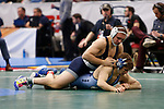 CLEVELAND, OH - MARCH 16: Zain Retherford, of Penn State, wrestles Troy Heilmann, of North Carolina, in the 149 weight class during the Division I Men's Wrestling Championship held at Quicken Loans Arena on March 16, 2018 in Cleveland, Ohio. (Photo by Jay LaPrete/NCAA Photos via Getty Images)